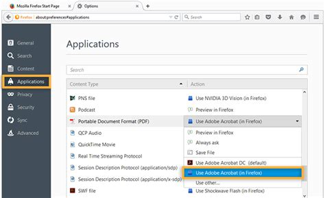configure browser to use the adobe pdf in to open pdf files