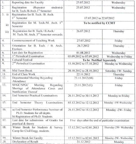 Nit Release Letter Nit Hamirpur Academic Calendar Aglasem