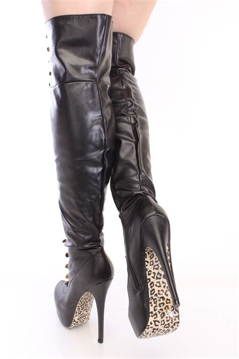 black looped thigh high platform boots faux leather