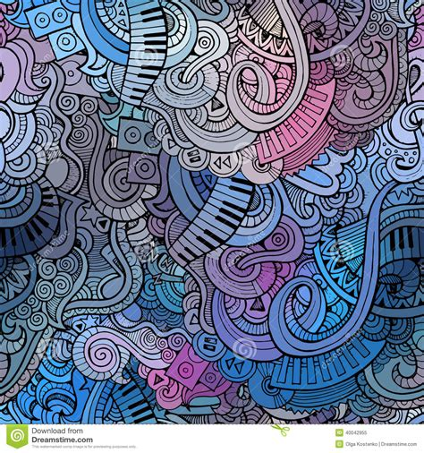 abstract pattern doodles abstract decorative doodles music seamless pattern stock
