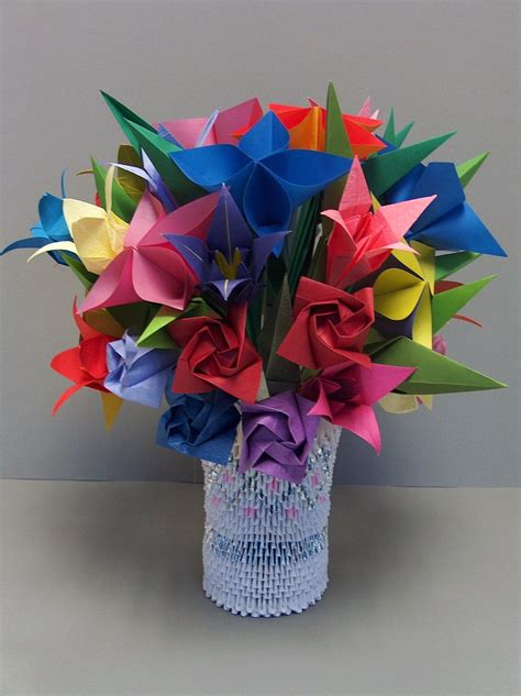 Origami 3d Flower - 3d origami flowers in vase 2 by sabrinayen on deviantart