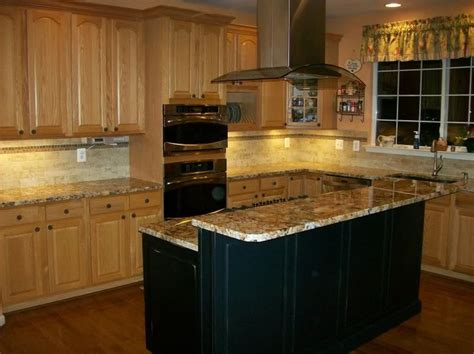 oak kitchen cabinets black island design ideas