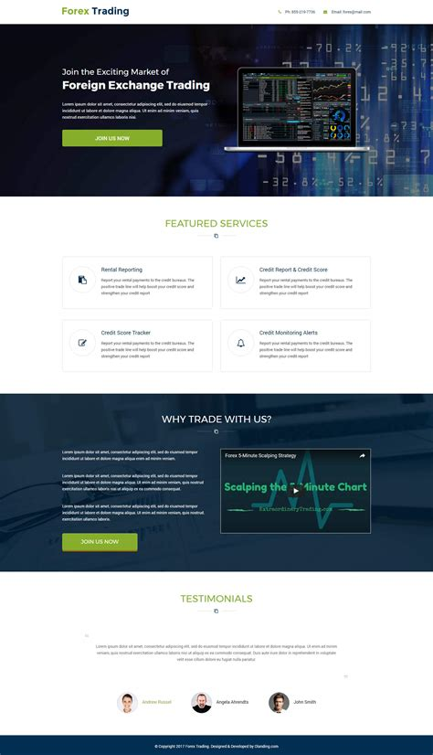 responsive forex trading landing page with free landing