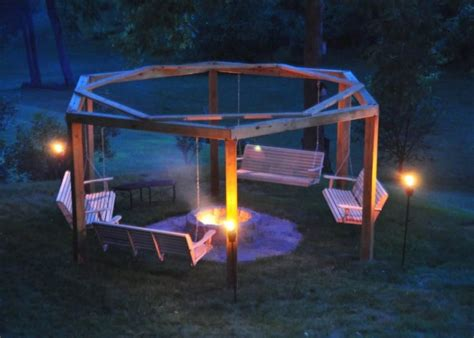 diy fire pit with swings dad diyer builds genius backyard porch swing fire pit