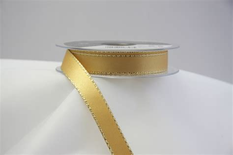 Flat Gold Ribbon satin ribbon with gold metallic edge