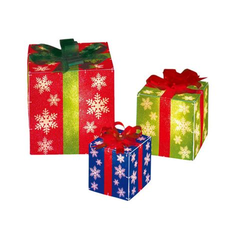 Lighted Gift Boxes Holiday Time Lighted Gift Boxes 3pc Other Home Walmart Com
