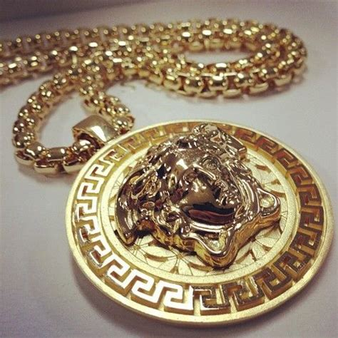 versace medusa pendant gold chain jewelry