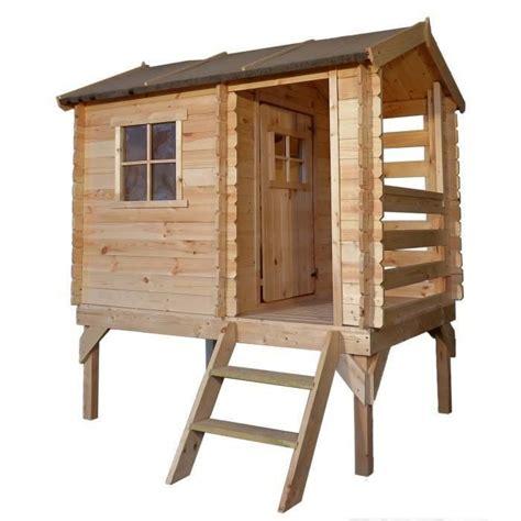 maisonnette en bois sur pilotis 3431 timbela maisonnette enfant en bois sapin 175x130xh205 cm