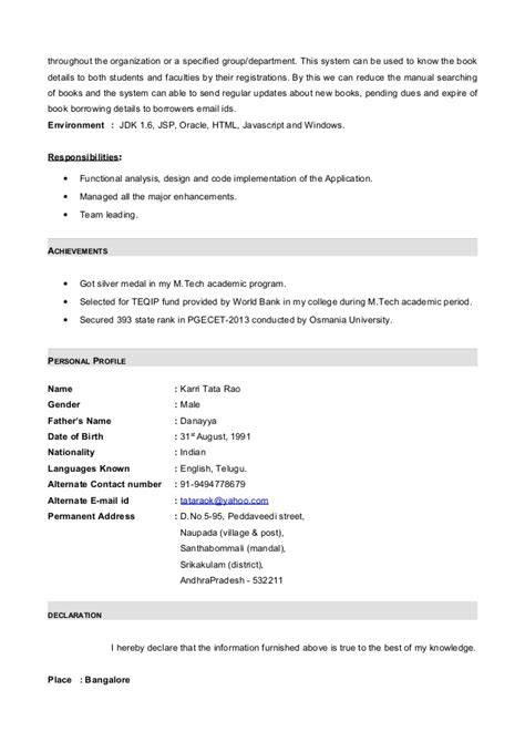 Sle Resume For Java Developer 1 Year Experience 100 Resume Java Developer Ideas Collection Sle Resume Of Net Developer With Additional