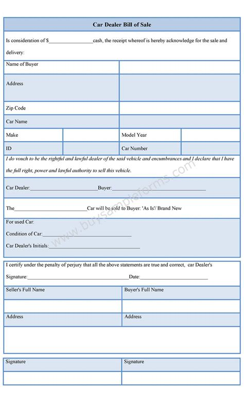 Car Dealer Bill Of Sale Form Dealership Bill Of Sale Template