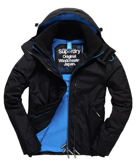 Jaket Windcheater Blue Black Chelsea mens pop zip hooded arctic windcheater jacket in black denby blue superdry