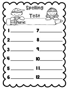 test template for teachers free this is a and simple spelling test template that has