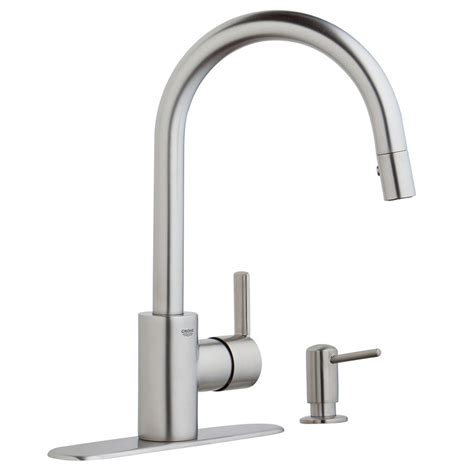 grohe feel kitchen faucet shop grohe feel supersteel infinity 1 handle pull kitchen faucet at lowes
