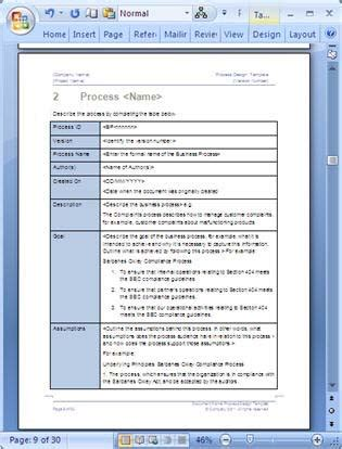 process document template business process design templates ms word excel visio