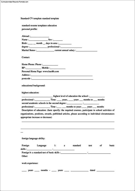 Standard Resume Template by Standard Resume Templates Free Sles Exles
