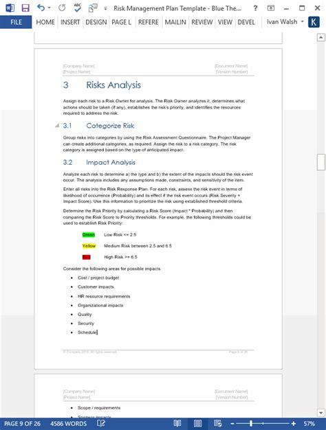 Risk Management Plan Template Sdlc Risk Assessment Template