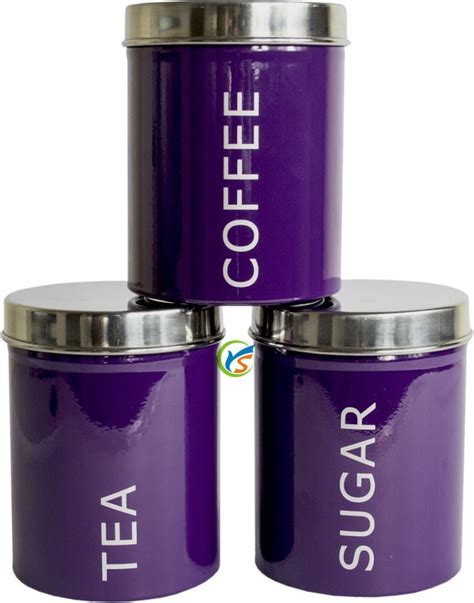 metal purple tea coffee sugar kitchen canisters set