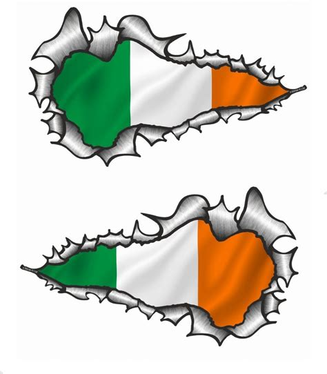 long pair ripped torn metal design with ireland irish irl