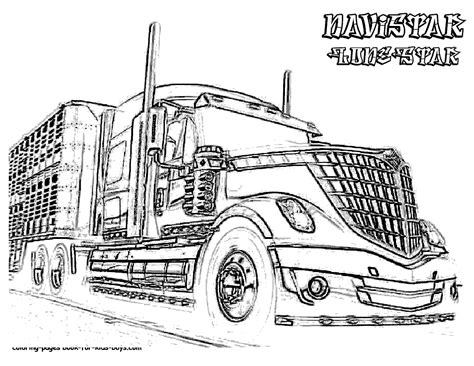 semi truck coloring book page coloring pages