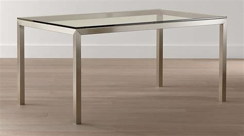 stainless steel glass top dining table parsons clear glass top stainless steel base dining