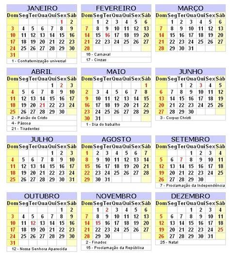Calendario Feriados Calend 225 2010 Feriados E Datas Comemorativas Toda