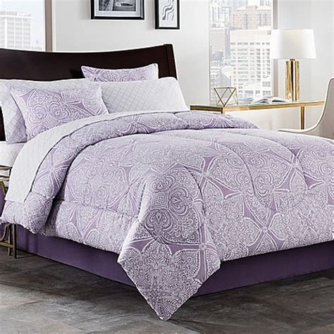 lea 6 8 piece comforter set in purple white bed bath