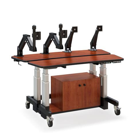 Split Level Height Adjustable Desk Afcindustries Com Electronic Height Adjustable Desk