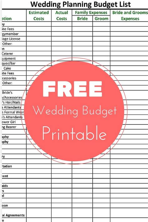 wedding budget spreadsheet printable wedding budget template excel