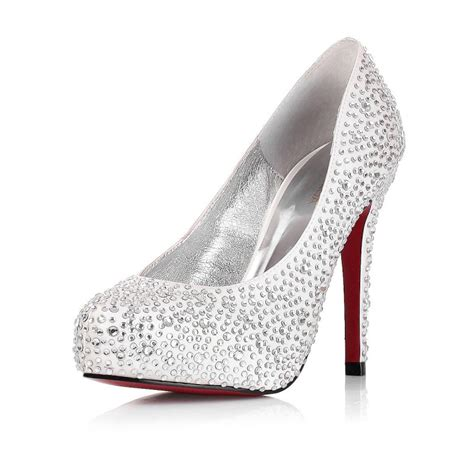 Rhinestone Wedding Shoes by High Heel Closed Toe Rhinestone Silver Wedding Bridal