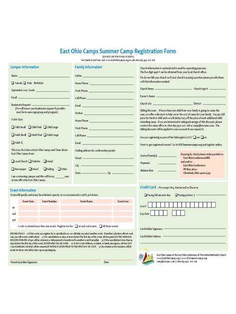 program registration form template summer c registration form 2 free templates in pdf