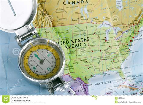 map of usa with compass open compass on a map stock image image of canada west