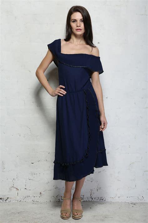 Dress Ruffle Blue vintage blue ruffle dress 1960s dresses navy prom dress