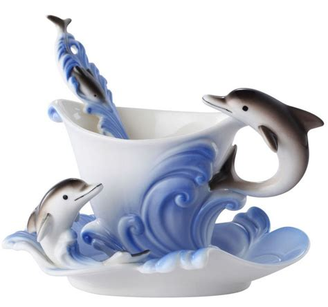 Dolphin Cup With Saucer And Spoon by Lovely Dolphin Tea Cup Saucer Spoon Set 3 Pcs Tea