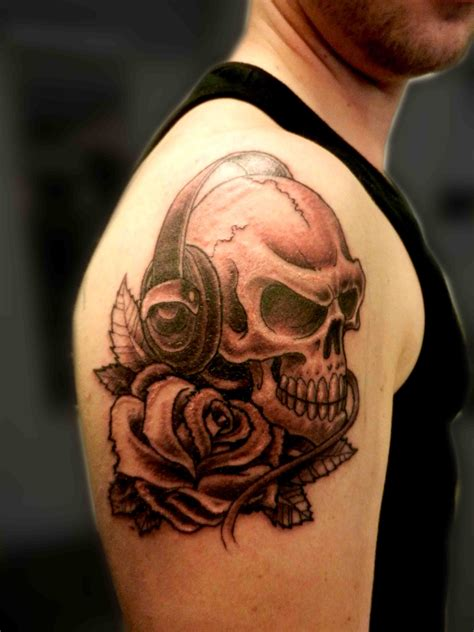 black and grey music tattoos tattoo truro skull tattoo headphones rose dj music black