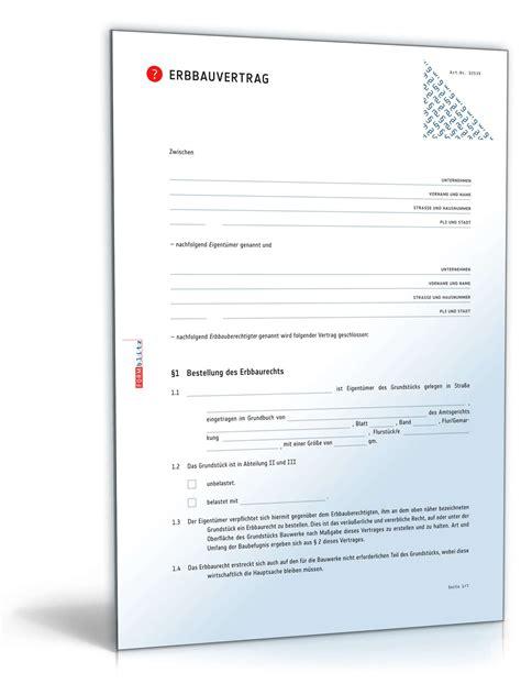 Vertrag Hauskauf by Erbbauvertrag Anwaltsgepr 252 Ftes Muster Zum