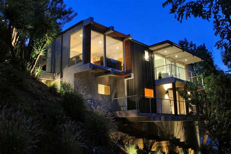 house modern design 2014 contemporary hillside homes design night lighting