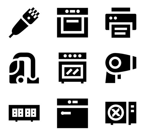 Black Kitchen Furniture appliance icons 429 free vector icons