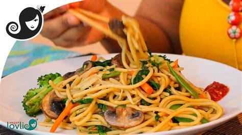 stir fried vegetable spaghetti recipe vegetarian vegan
