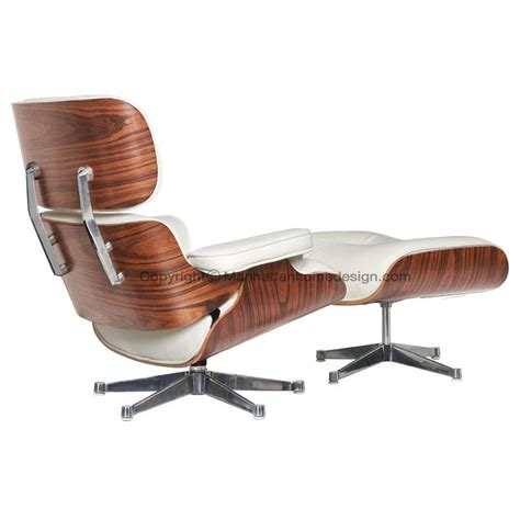 Plywood Lounge Chair And Ottoman Eames Lounge Chair Replica White With A Black Base Manhattan Home Design