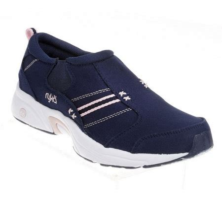 ryka slip on sneakers quot as is quot ryka canvas slip on walking shoes qvc