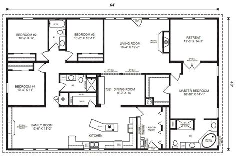 4 Bedroom Mobile Home Floor Plans by Modular Home Plans 4 Bedrooms Mobile Homes Ideas Open