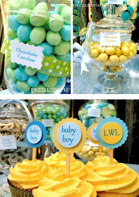pale blue yellow baby shower guest feature