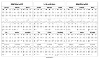 3 Year Calendar 2018 Printable 2017 2018 2019 Calendar Template 3 Year