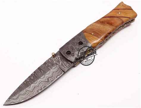 Folding Knife custom handmade damascus steel folding knife car