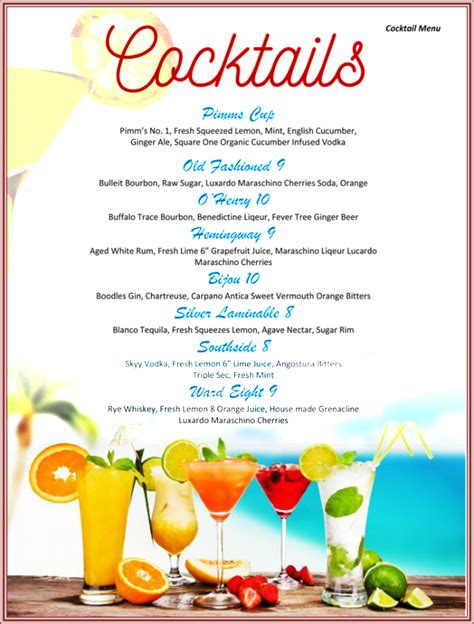 juice menu card templates drink menu template 5 best drink menu formats