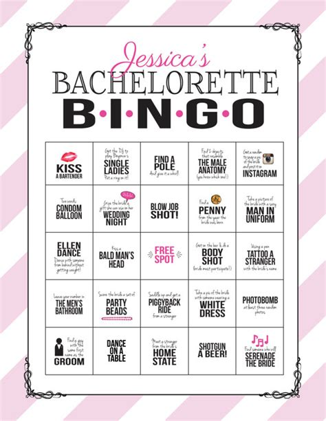 bachelorette bingo template bachelorette bingo sheet digital file print