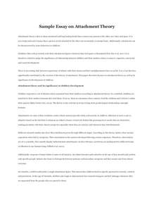 Child Development Theories Essays by Sle Essay On Attachment Theory