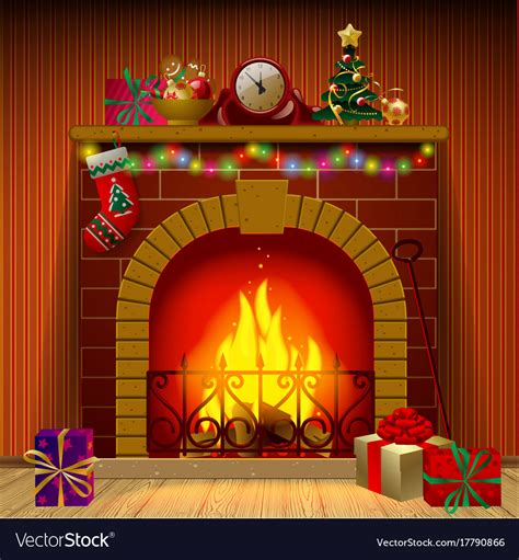 christmas fireplace royalty  vector image vectorstock