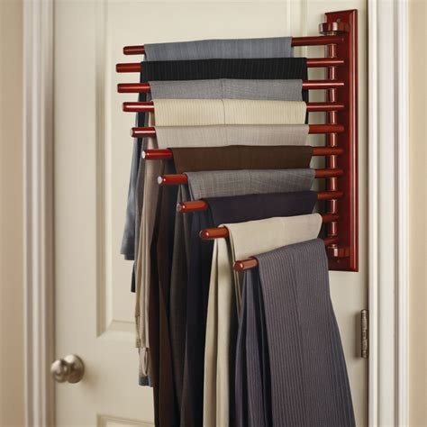 Pant Rack For Closet by The Closet Organizing 10 Trouser Rack Hammacher Schlemmer