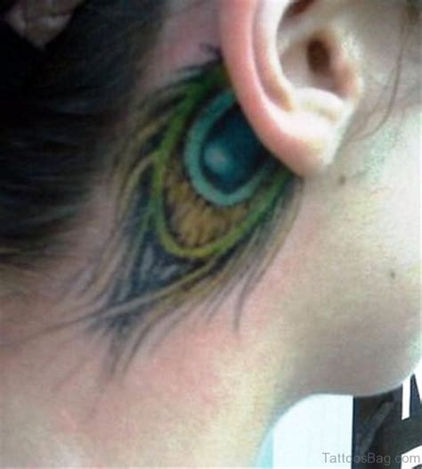 nice tattoo behind ear 14 lovely peacock neck tattoos